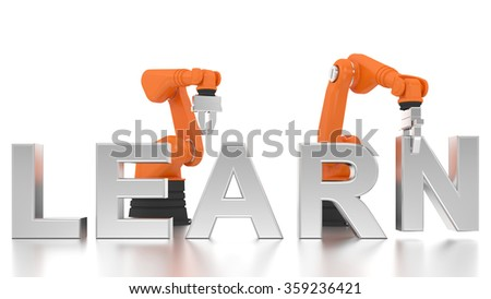 Industrial robotic arms building LEARN word on white background