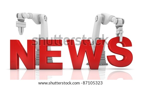 Industrial robotic arms building NEWS word on white background - stock photo