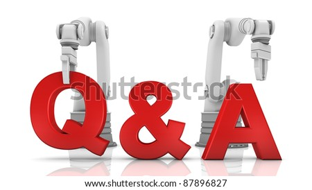 Industrial robotic arms building Q&A word on white background - stock photo