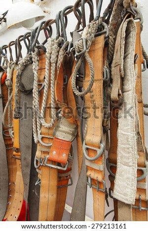 Industrial safety belt and rope - stock photo