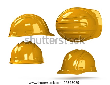 industrial safety helmet, yellow hard hat isolated on white bacground. 3D render - stock photo