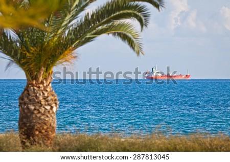 Industrial ship in Mediterranean sea near Cyprus coast - stock photo