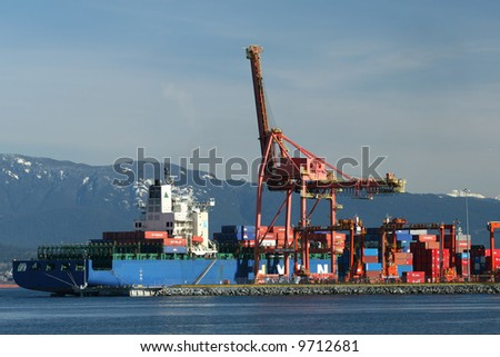 Industrial Shipping Port in Vancouver - stock photo