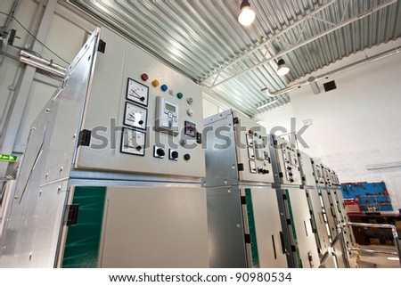 Industrial shop with electrical equipment