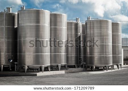 industrial silos. outdoor - stock photo