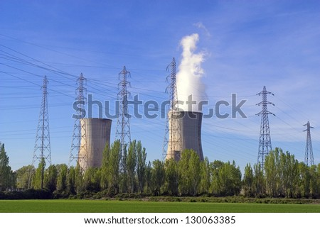 Industrial site of a nuclear power plant in full shift