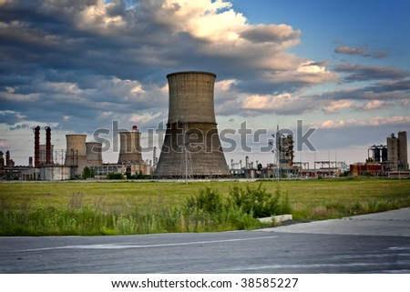 Industrial site - refinery with large concrete towers