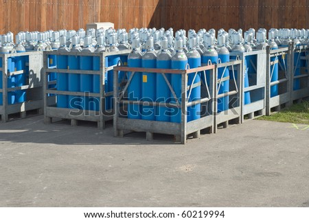 Industrial Size Gas Bottles for Cooking and Heating - stock photo