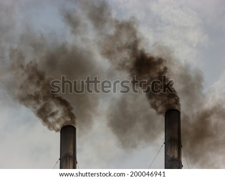 industrial smoke from chimney - stock photo