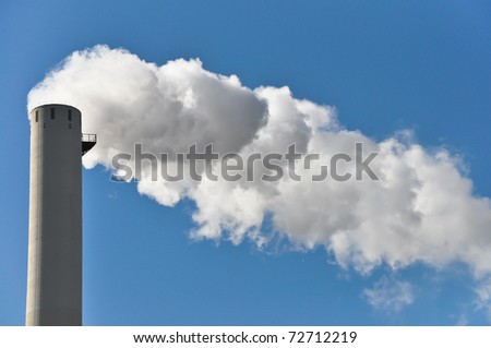Industrial smoke from chimney in Germany - stock photo