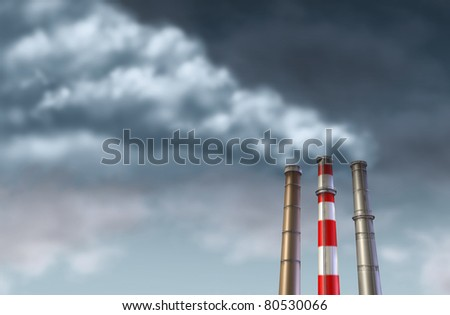 Industrial smoke stacks on a grey sky representing global factory emissions and pollution from industry manufacturing. - stock photo