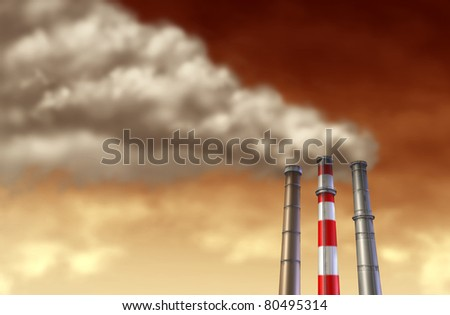 Industrial smoke stacks on a red sky representing global factory emissions and pollution from industry manufacturing. - stock photo