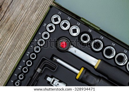 industrial socket wrench toolbox kit detail - stock photo