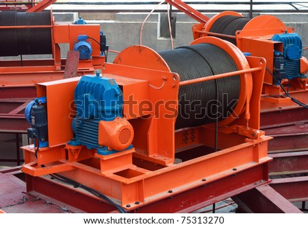 Industrial stage winch for shaft sinking and underground - stock photo