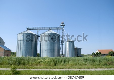 Industrial stainless steel silos - copy space