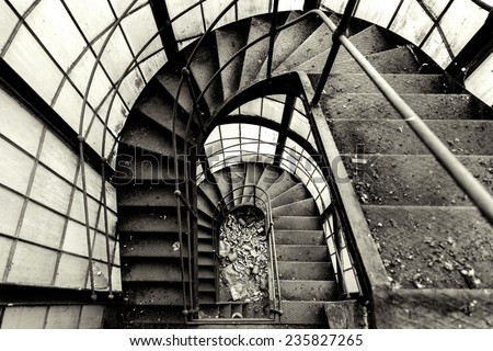 Industrial staircase going up to the tower - stock photo