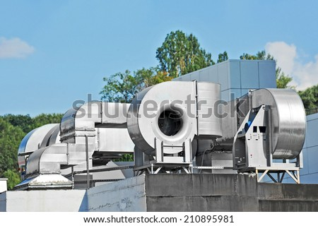 Industrial steel air conditioning and ventilation systems - stock photo