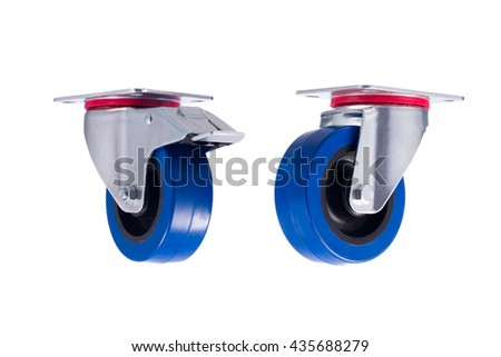 Industrial steel casters seperated isolated on white background - stock photo