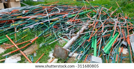 Industrial steel waste - stock photo