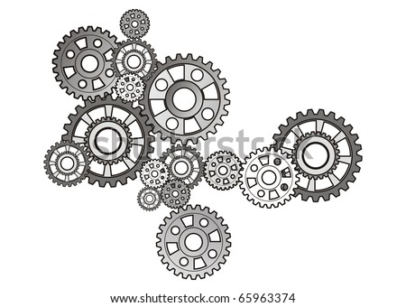 industrial still life - arrangement of gears, isolated on white       - stock photo