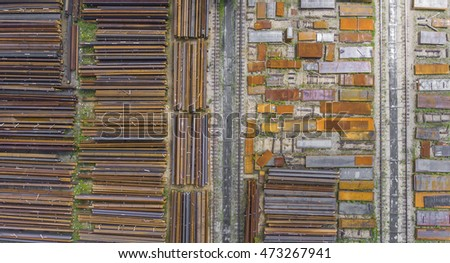 Industrial storage place, view from above. Steel elements.