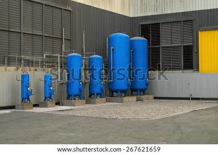 Industrial storage tanks for liquids, gases and bulk materials. - stock photo