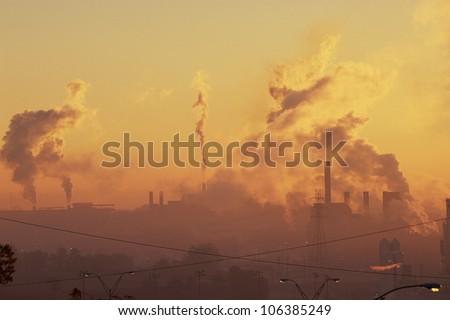 Industrial sunrise - stock photo