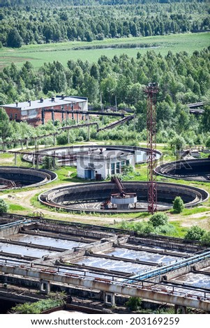 Industrial tanks with sewage treatment - stock photo