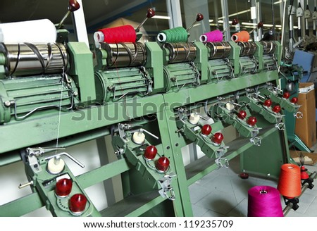 Industrial textile factory, interior - stock photo