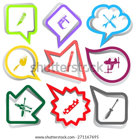 Industrial tools set. Paper stickers. Raster illustration. - stock photo