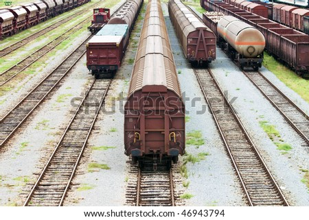Industrial train station - stock photo