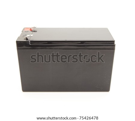 Industrial use rechargeable battery unit isolated on white. - stock photo