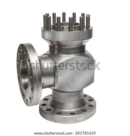 Industrial valve components/Stainless steel flanged valve/Stainless steel industrial gas valve  - stock photo