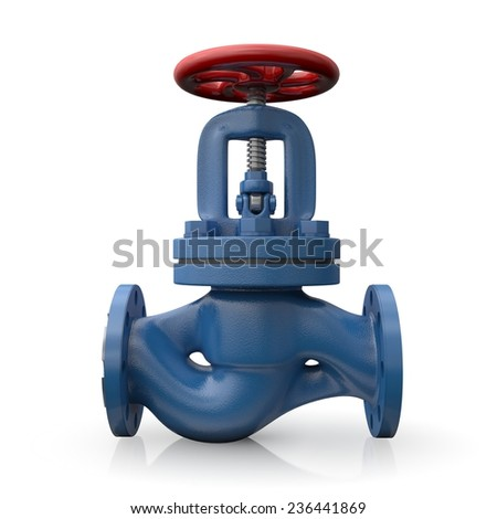 Industrial valve isolated on white - stock photo
