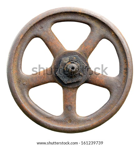 Industrial Valve Wheel And Stem, Weathered Grunge Latch Detailed Macro Closeup Isolated - stock photo