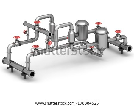 Industrial valves and pipes on a white background - stock photo