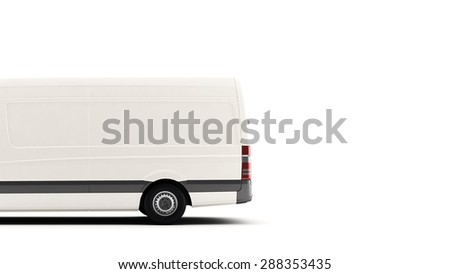 Industrial van on a white background, for advertisement text copy space - stock photo