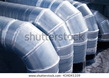 industrial ventilation pipes. hvac. Industrial steel air conditioning and ventilation systems - stock photo