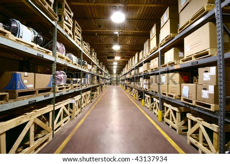 Industrial Warehouse - ultra wide angle view. - stock photo