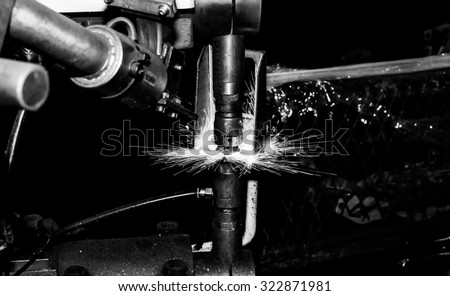 Industrial welding spot nut automotive - stock photo