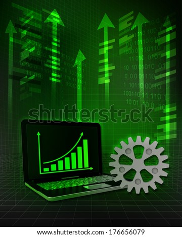 industrial wheel with positive online results in business illustration - stock photo