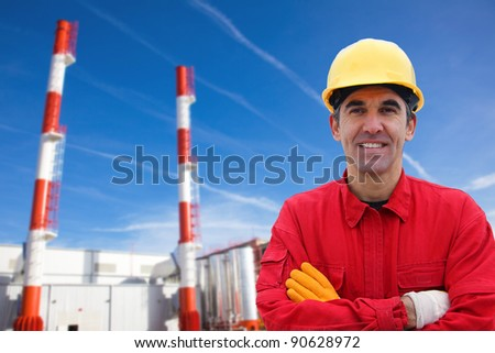 Industrial Worker in Power Plant - stock photo