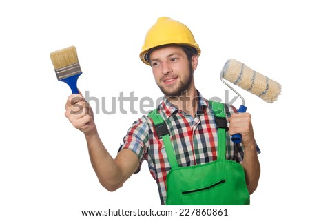 Industrial worker isolated on the white background stock photo
