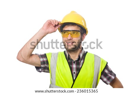 Industrial worker isolated on the white background - stock photo