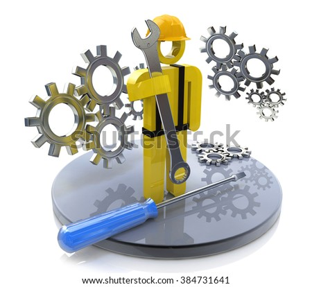 Industrial worker with wrench and gears in the design of the information related to the work and profession