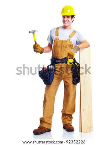 Industrial worker with yellow helmet. Isolated on white background. - stock photo