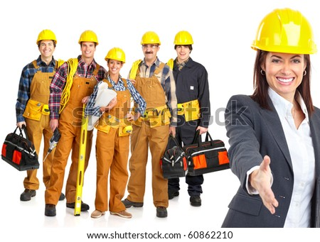 Industrial workers people. Isolated over white background - stock photo