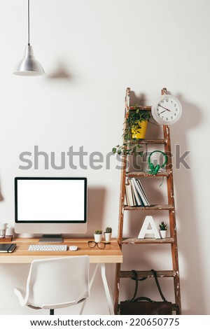 Industrial workspace with computer. / Minimal office on white background.  - stock photo