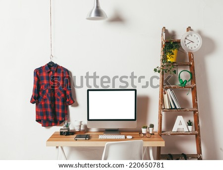 Industrial workspace with computer. / Minimal office on white background.