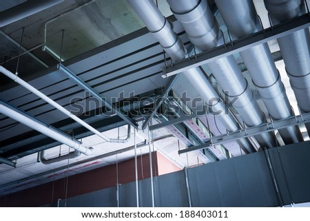 Industrial zone, Pipe tube on the roof top - stock photo